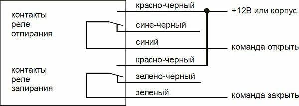 Cхема подключения к системе запирания с положительным или отрицательным управленияем
