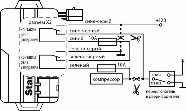Схема подключения сигнализации StarLine A62 к пневматической системе запирания