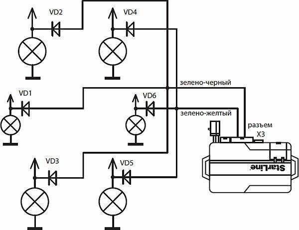 Схема подключения поворотников через диоды
