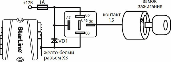 Схема поддержки +12В на замке зажигания при работе двигателя в режиме охраны с заведенным двигателем и в режиме турботаймера