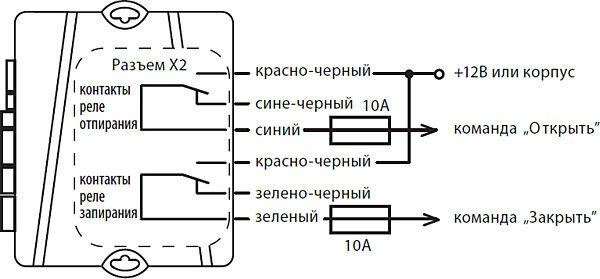 Схема подключения к системе запирания с положительным или отрицательным управлением