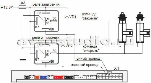 Подключение к двухпроводным приводам системы запирания