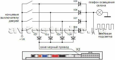 Схема диодной развязки для концевых выключателей положительной полярности