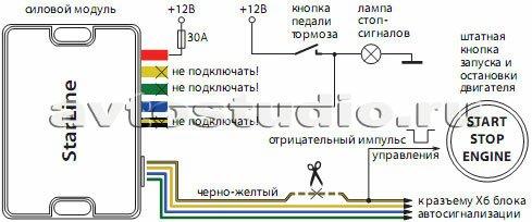 Схема 2: слаботочное управление кнопкой «старт-стоп»