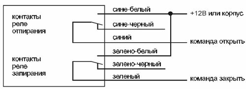 Схема подключения к системе запирания