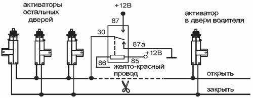Схема подключения активатора двери